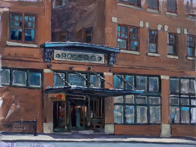 12 X 9 Oil On Panel Of The Historic Rogers Hotel