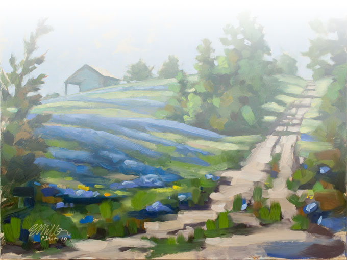 Plein Air Oil on panel - blue Bonnets in Texas, Ellis county