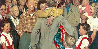 Norman Rockwell's painting - Christmas Homecoming, painted in 1948