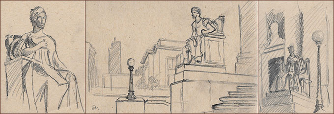 Rough sketches of sculptures at Memphis Courthouse