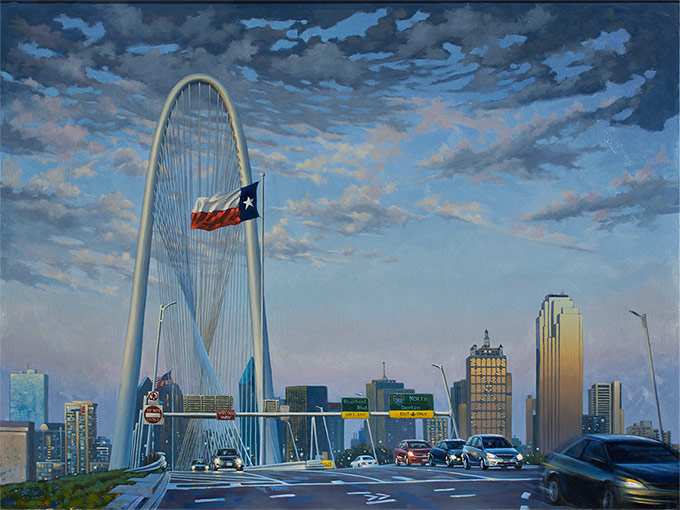 South Wind Giclee print on canvas of Margret Hunt Hill bridge in Dallas, Texas