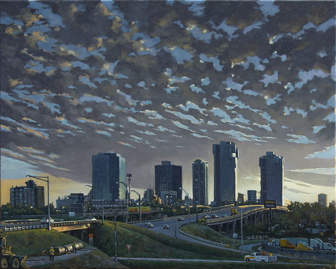 Work Zone Giclee Print on Canvas of Fort Worth Texas