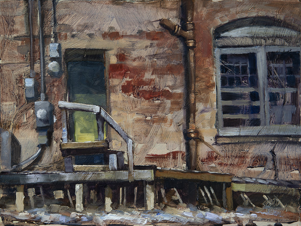 Plein Air Oil on panel, called Back Stoop